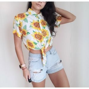 Wet Seal Button Up Floral Crop Top